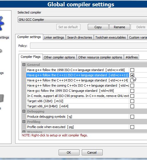 Setting C++11 standard